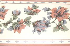 Blue Green Flowers on white Wall Wallpaper Border Dark Pink Trim  2634146 NEW - $14.83