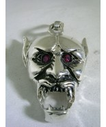 MONSTER VAMPIRE SKULL PENDANT WITH RUBY RED EYES IN STERLING SILVER HIGH... - $32.68