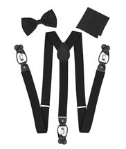 Berlioni Italy Formal Tuxedo Bow Tie Convertible Suspenders Hanky Gift Box Set image 9