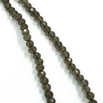 """18K YELLOW GOLD NECKLACE 39.5"""" 100cm, FACETED BROWN SMOKY QUARTZ DIAMETER 3mm image 3"""