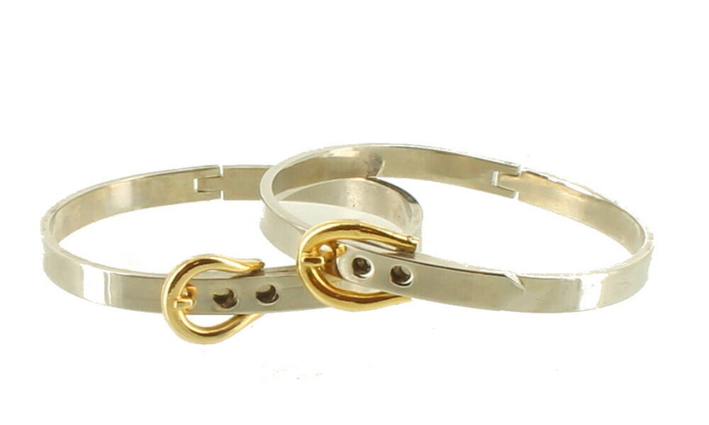 "Vintage Mod Silver & Gold Tone Belt Buckle Bangle Bracelets Adj. 6.25""-7"""