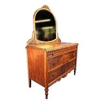 Antique Art Deco Veneered Dresser Mirror Vanity Vintage Chest Set Bedroo... - $3,380.99