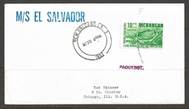 1957 Paquebot Cover Nicaraga stamp used in New Orleans, Louisiana (My 20) - $5.00