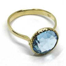 SOLID 18K YELLOW GOLD RING, CUSHION ROUND BLUE TOPAZ, DIAMETER 10mm image 2