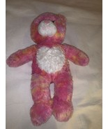 Build a Bear Workshop BAB Pink Yellow Tie Dye Stuffed Animal Bear Heart ... - $20.00