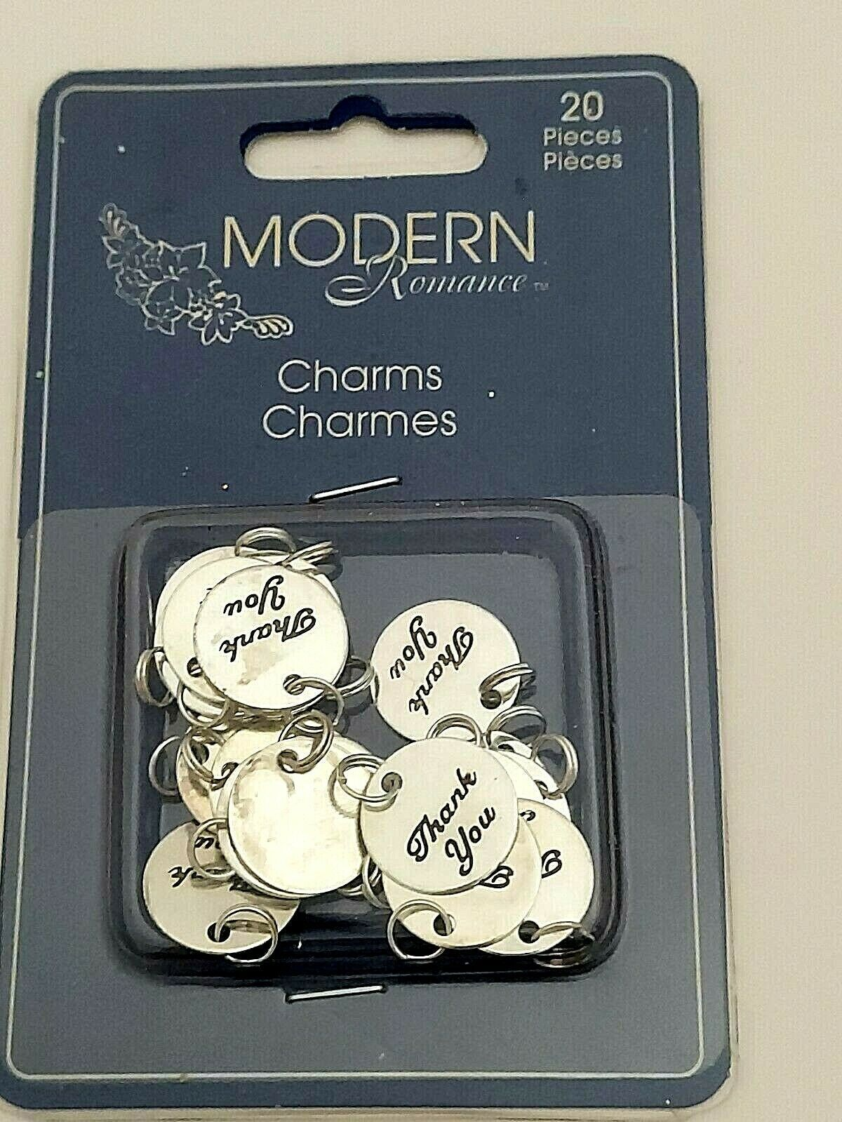 Modern Romance Thank You Silver Charms, 20 Count #10102-01