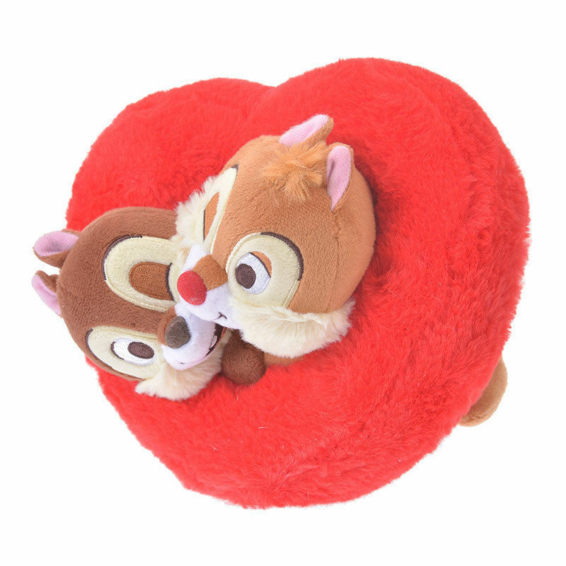 Disney Store Japan Valentine Chip 'n Dale Heart Plush New with Tags