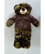 Build A Bear Green Camouflage w/ Military Jacket Teddy Plush Stuffed Dol... - $6.93