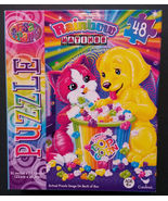 "Lisa Frank JIGSAW PUZZLE Dog Cat eating Popcorn ""Rainbow Matinee"" 48-pc NEW - $4.99"