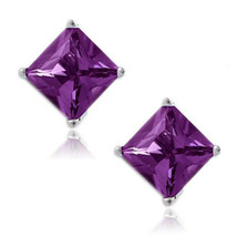 Amethyst Square Princess Cut CZ Crystal 925 Sterling Silver Stud Earrings - $34.63+