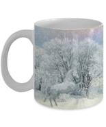 Horse Mug \ White Horse Winter Scene Image \  by Vitazi Kitchenware, 11 oz Gift - $13.95