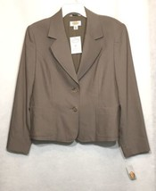 Talbots Womens Blazer 12 Petite Brown Solid Button Down Lined Career Jacket A8 - $31.80