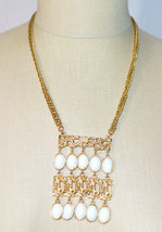 Etruscan Style White Lucite Gold Tone Bar Tassel Pendant Necklace Vintage Runway - $39.59