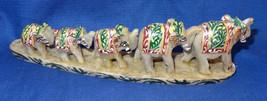 Marble Set of Two Elephant line Handmade Figurine painted Home Decor Gif... - $63.16