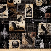 Michael Miller 228313 Collection Nevermore Collage Urban Grit Black Fabr... - $14.01