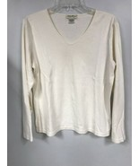 Eddie Bauer Womens LARGE White Cotton T Shirt Long Sleeve V Neck Top - $14.84