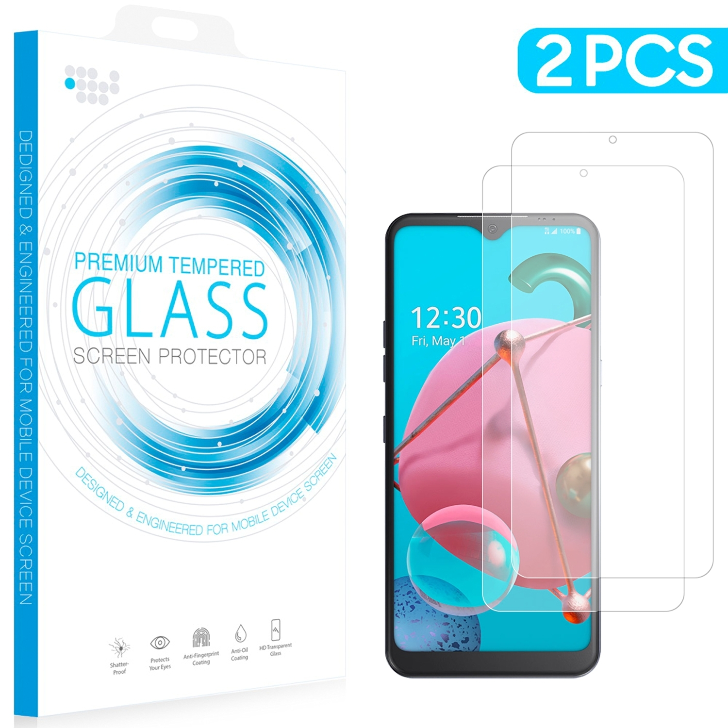 Lg K51 2 Pack Tempered Glass Screen Protector 0.26Mm Arcing/Clear/One size - $9.30
