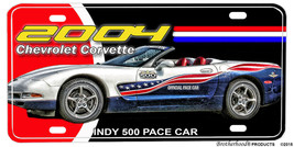 2004 Chevrolet Corvette Indy 500 Pace Car Aluminum License plate - $13.81
