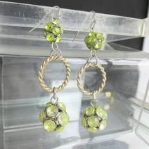 """Vintage Peridot Green Rhinestones 2.5"""" Long Dangling Earrings Encrusted ... - $13.50"""