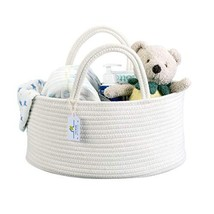 Baby Diaper Caddy Organizer Large Capacity Woven Cotton Rope Nursery Bas... - $37.46