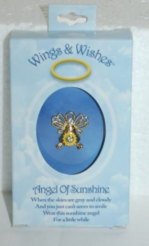 DM Merchandising Wings Wishes Sunshine Angel Yellow Gold Color WGWSUN