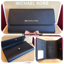 6719e186d679 Nwt Michael Kors Jet Set Travel Saffiano Leather Large Trifold Wallet In  Black -  68.88