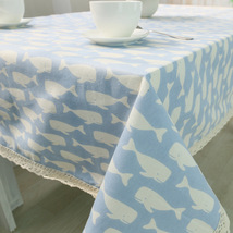 Cotton Linen Tablecloth Blue Whale Washable Dinner Kitchen Decor Table C... - $12.98+