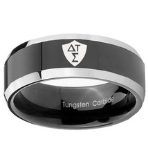 Greek CTR 8mm Two Tone Black Beveled Tungsten Carbide Ring - $43.99