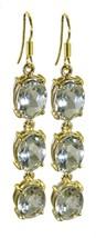 Green Gold Plated Fashion pulchritudinous Green Amethyst gemstones Earring AU - $13.17