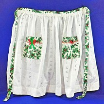 VIntage Christmas Apron White Eyelet with Holly and Lace - $12.50