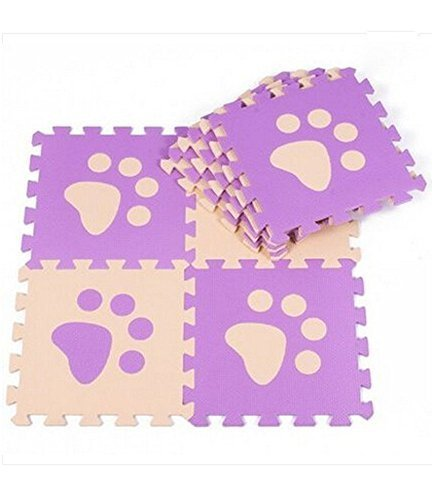 Interlocking Foam Mats EVA Foam Floor Mats (10 Tiles) Purper Footprints