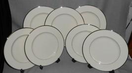 Set (7) Lenox MONTCLAIR PATTERN Dinner Plates PLATINUM TRIM Made in USA - $110.87