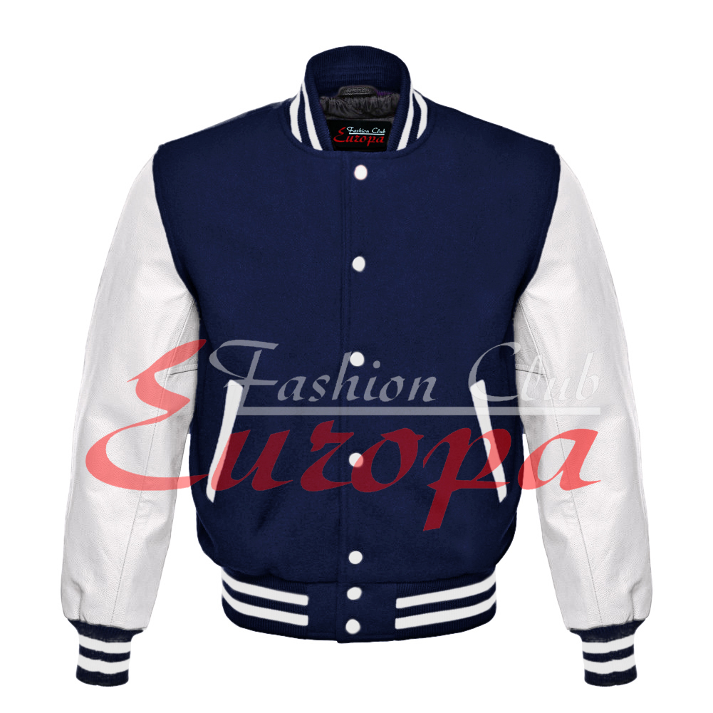 Primary image for Top quality Varsity Letterman JAcket Wool with White Real Leather Sleeves XS-4XL