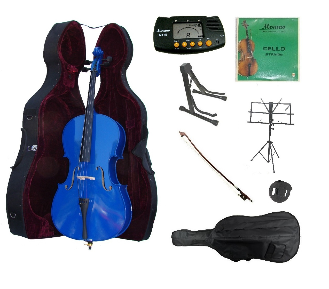 4/4 Size Blue Cello,Hard Case,Soft Bag,Bow,Strings,Metro Tuner,2 Stands,Mute
