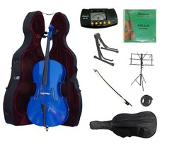 4/4 Size Blue Cello,Hard Case,Soft Bag,Bow,Strings,Metro Tuner,2 Stands,... - $219.99