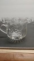 Vintage Jeannette Glass  Punch Bowl Cups Embossed Fruit Design Lot of 10 - $12.82