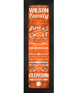 "Personalized Clemson University Tigers ""Family Cheer"" 24 x 8 Framed Print - $39.95"