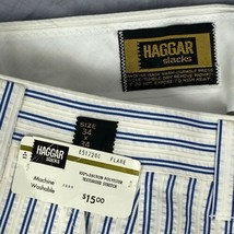 Haggar Slacks Texturized Stretch Polyester Striped Men's 34 x 34 Pants N... - $44.54
