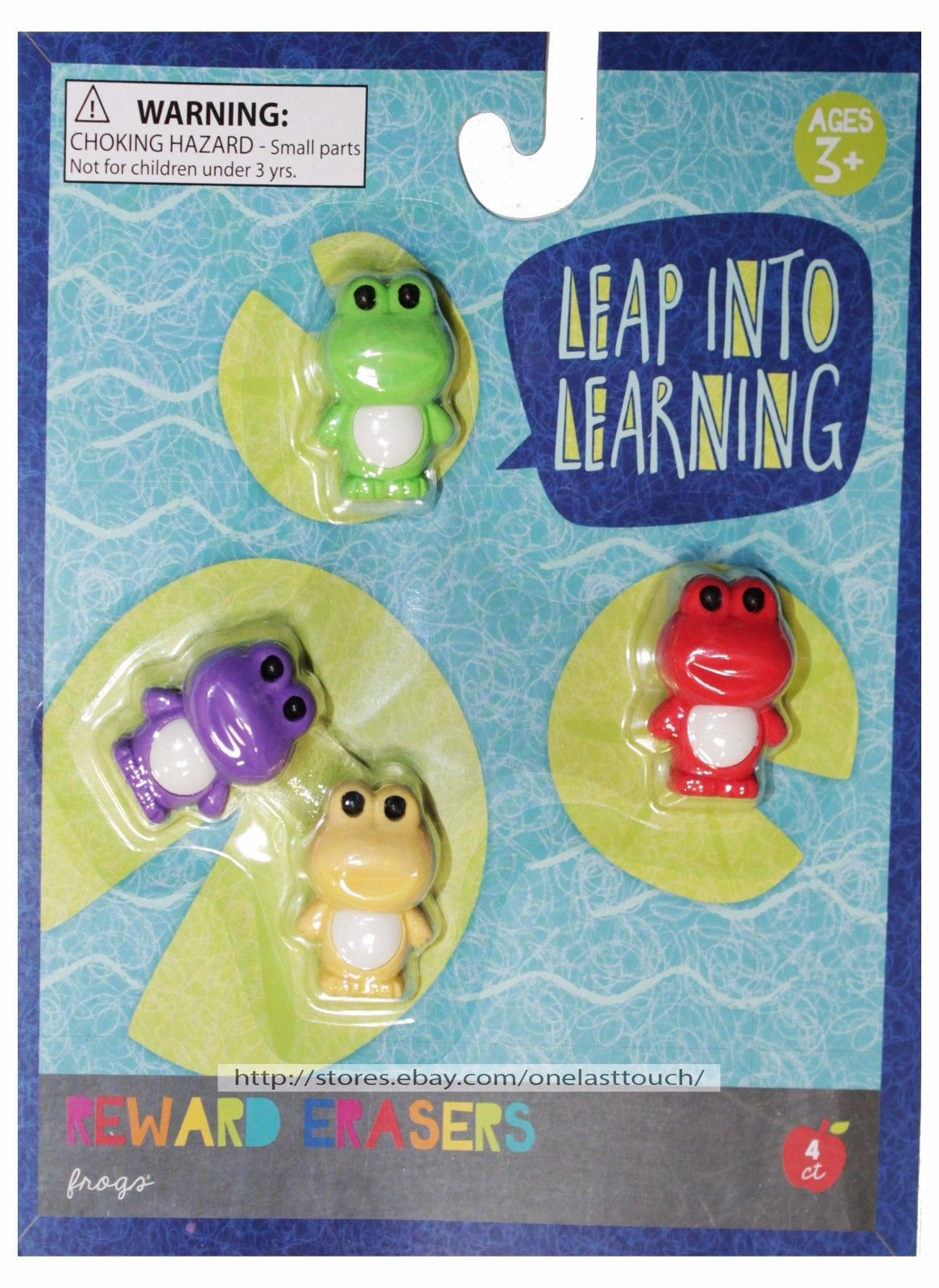 REWARD ERASERS 4pc Great For School FROGS+OWLS Ages 3+ FIGURAL New! *YOU CHOOSE*
