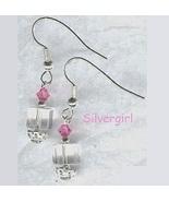 Lead Crystal Clear Cube Pink Swarovski Dangle Earrings - $9.99