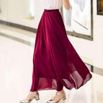 Candy Color Elegant Pleated Women Chiffon Maxi Skirt image 2
