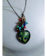 Vintage colored heart shaped glass heart pendant with colored beads & 24... - $14.00