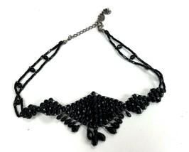 VTG Necklace 90s LC Black Glass Beads Choker Goth Boho By Liz Claiborne - $11.87