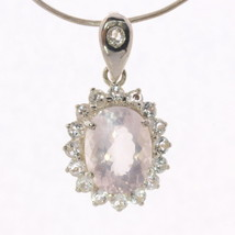 Pink Rose Quartz White Topaz Halo Handmade Sterling Silver Ladies Dangle... - $136.80