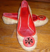 Tory Burch Woven Straw Slip On Ballet Flats w/ Red Leather Trim Women's ... - $27.00