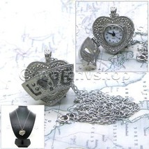 Silver Heart Women Pendant Watch Locket Marcasite Pewter with Necklace G... - $14.49