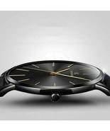 Men Trendy Ultra Thin Minimalist Watch Slim Leather Strap Stainless Stee... - $12.23+