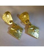 Vintage 1970's Modernist Dangle Pierced Earrings Hammered Goldtone - $25.00