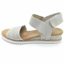Bobs By Skechers Womens Desert Kiss Slingback Sandals Ivory Wedge 8W  - $39.59