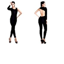 Women Sexy One Shoulder Stretch Bodycon Jumpsuit Black L 8-10 Fitted Leg... - $6.88